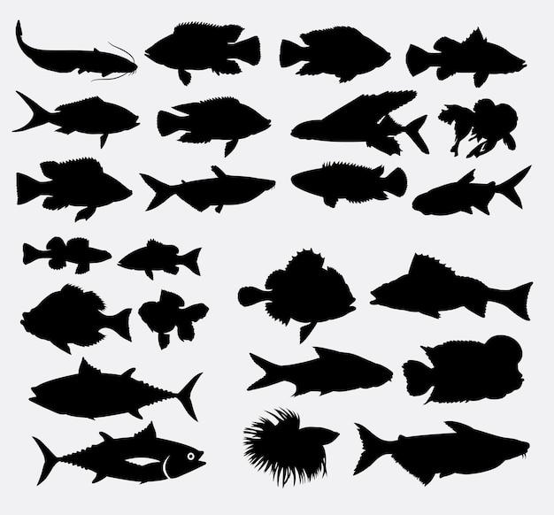 Vis dieren silhouet