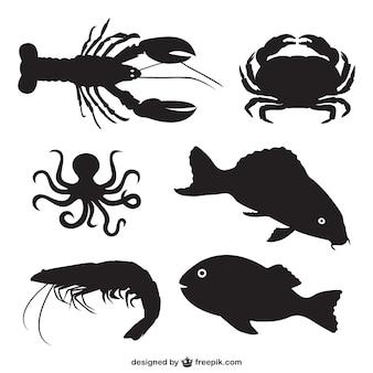Vis en schelpdieren silhouetten