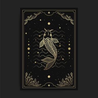 Vis in tarotkaarten, versierd met gouden wolken, maan, ruimte en veel sterren