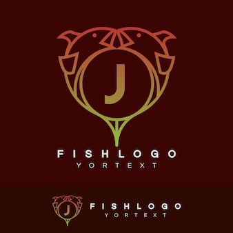 Vis initiaal letter j logo ontwerp