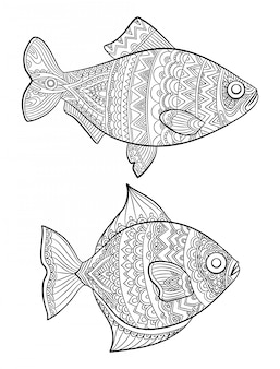 Vis kleurplaten. mode tekening oceaan dieren tekeningen voor volwassenen boeken lineaire kunstlijn