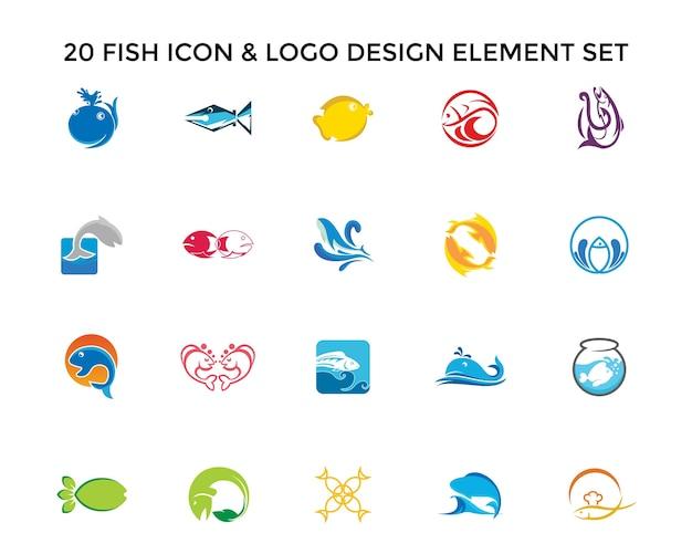 Vis pictogram logo ontwerpset