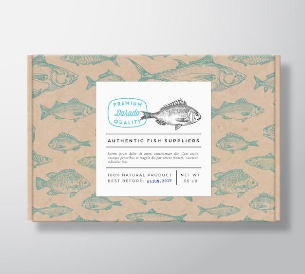 Vis realistische kartonnen doos verpakking mockup