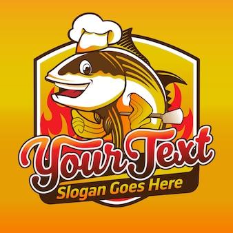 Vis restaurant logo ontwerp