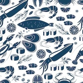 Vis sushi en zeevruchten naadloze achtergrond patter in blauw en wit vector iconen van calamares kreeft krab sushi garnalen garnalen mossel zalm steak citroen en kruiden voor print of textiel