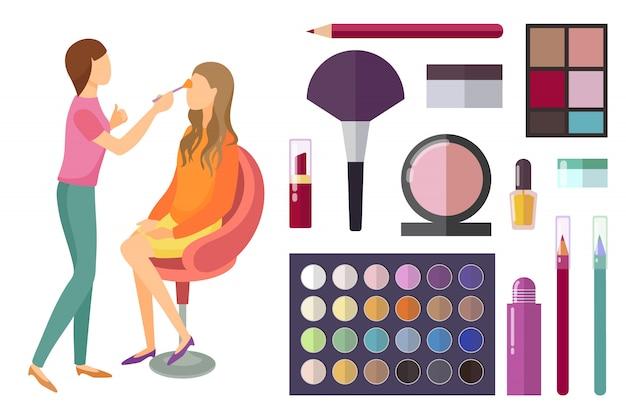 Visage en make-up maken van cosmetica voor schoonheid