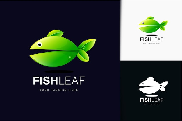 Visblad logo-ontwerp met verloop
