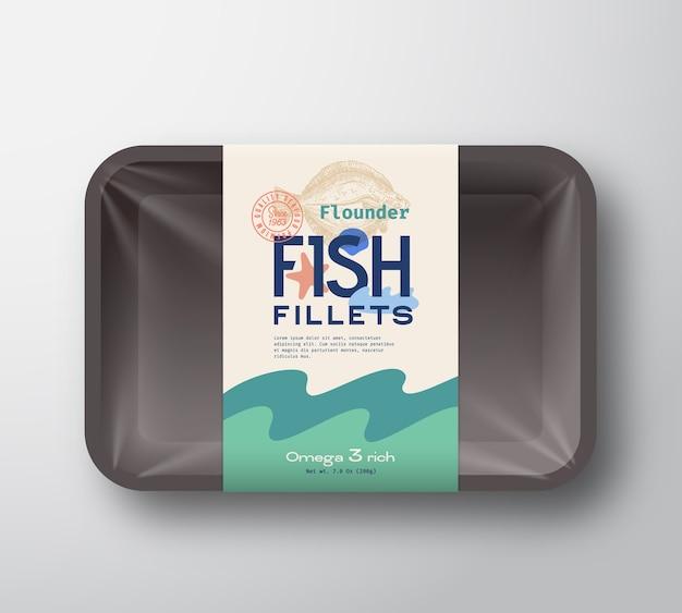 Visfilets pack. abstracte vis plastic dienblad container met cellofaan cover. verpakkingsetiket.