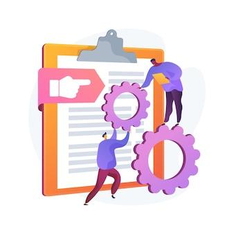 Visie en toepassingsgebied document abstracte concept illustratie