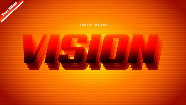 Visie tekst effect ontwerp vector. bewerkbare 3d-tekst