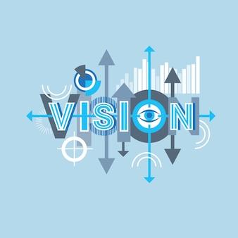 Visie word creatief grafisch ontwerp modern bedrijfsconcept over abstracte geometrische vormen