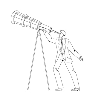Visionaire zakenman op zoek naar spyglass zwarte lijn potloodtekening vector. visionaire man kijken in telescoop. karakter guy manager leiderschap zakelijke visie, recruitment werknemer illustratie