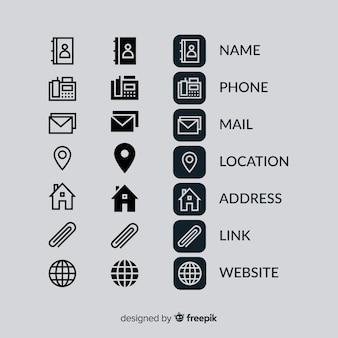Visitekaartje icoon collectie