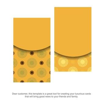 Visitekaartje in geel met vintage bruin ornament voor uw bedrijf.
