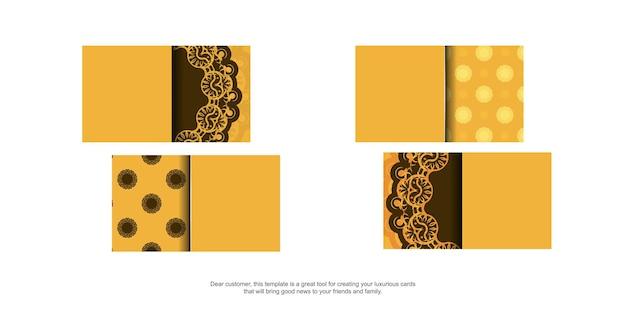 Visitekaartje in geel met vintage bruin patroon voor uw merk.