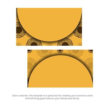 Visitekaartje in geel met vintage bruin patroon voor uw persoonlijkheid.