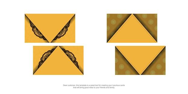 Visitekaartje in geel met vintage bruine ornamenten voor uw persoonlijkheid.