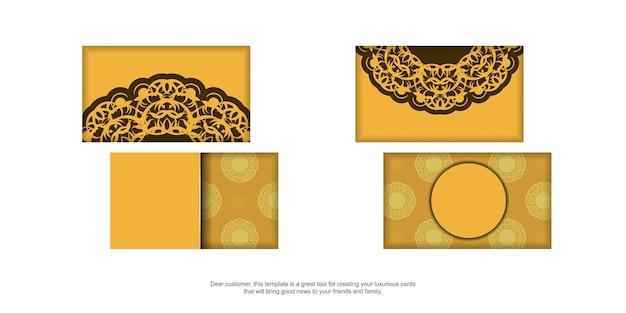 Visitekaartje in gele kleur met een bruin mandalapatroon voor je contacten.