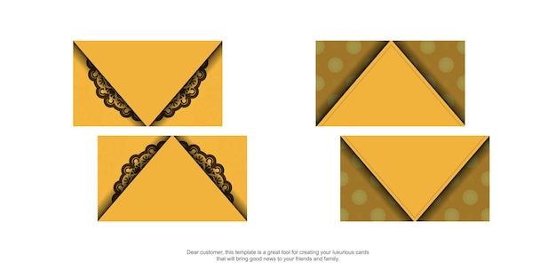 Visitekaartje in gele kleur met luxe bruin ornament voor uw bedrijf.