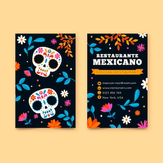 Visitekaartje in verticaal formaat met mexicaanse elementen