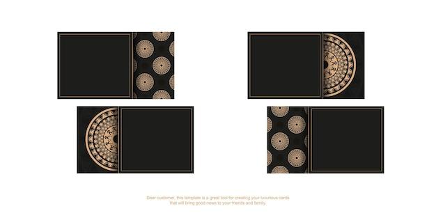 Visitekaartje in zwarte kleur met bruin mandala-ornament. vector illustratie