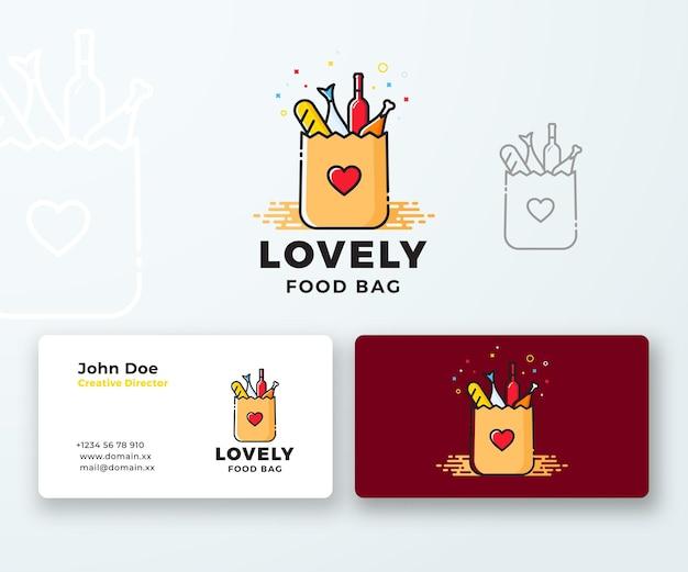 Visitekaartje lovely food papieren zak met hartsymbool, brood, wijn en vis.