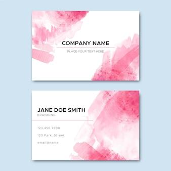 Visitekaartje met abstracte roze verfborstels