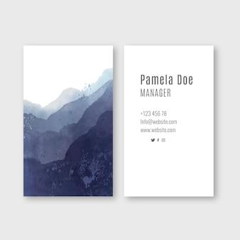Visitekaartje met aquarel blauwe golven