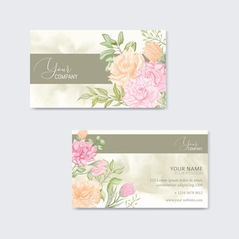 Visitekaartje met aquarel bloem