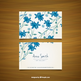 Visitekaartje met blauwe bloemen