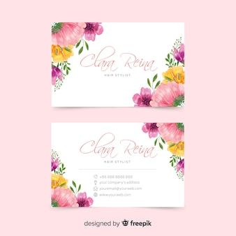 Visitekaartje met bloemen concept sjabloon