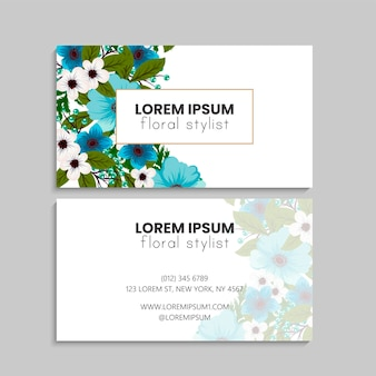 Visitekaartje met bloemen.