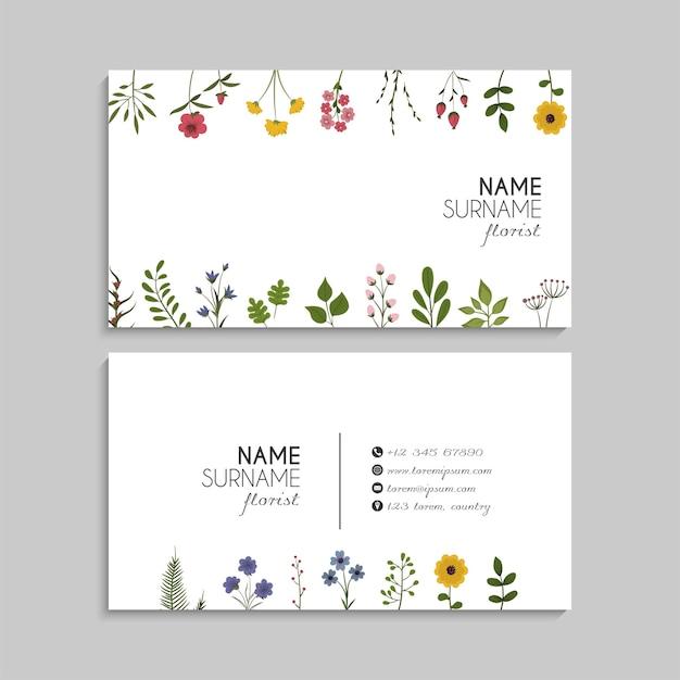 Visitekaartje met bloemenframe