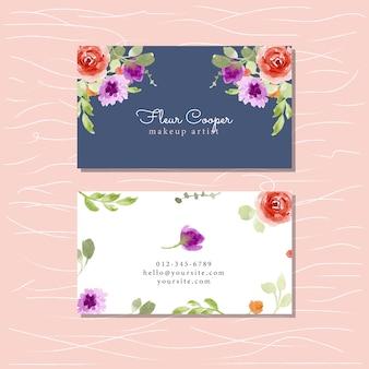 Visitekaartje met bloemenwaterverf