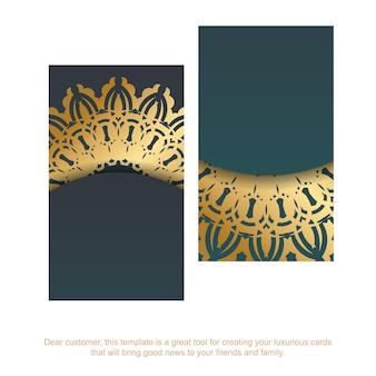 Visitekaartje met een gradiënt van groene kleur met een mandala gouden ornament voor uw bedrijf.