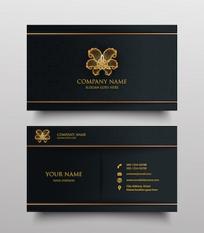 Visitekaartje met gouden bloemen logo en plaats voor tekst