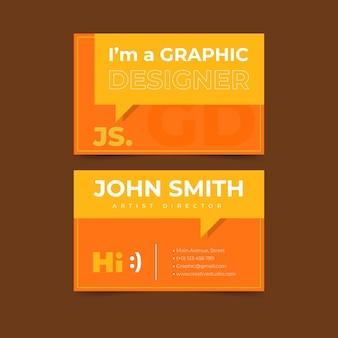 Visitekaartje met grappige grafische ontwerper tekstballon