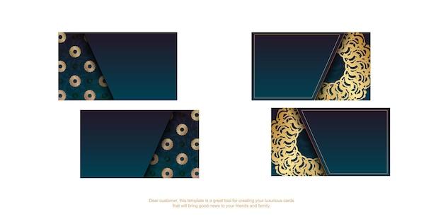Visitekaartje met groene kleurverloop met abstracte gouden sieraad voor uw bedrijf.