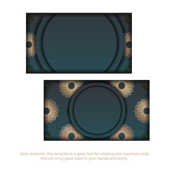 Visitekaartje met groene kleurverloop met mandala gouden patroon voor uw bedrijf.