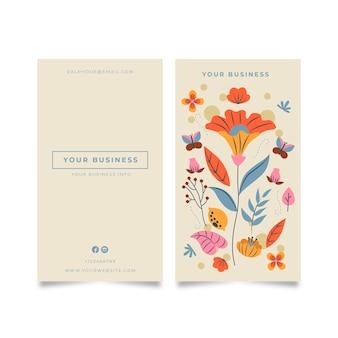 Visitekaartje met kleurrijke bloemen en bladeren