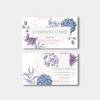 Visitekaartje met luxe bloemen frame sjabloon