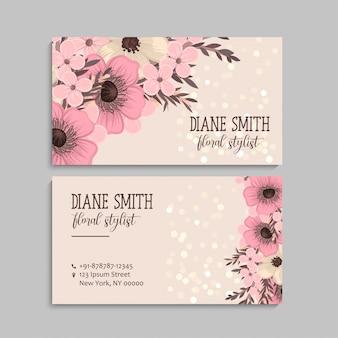 Visitekaartje met mooie roze bloemen. sjabloon
