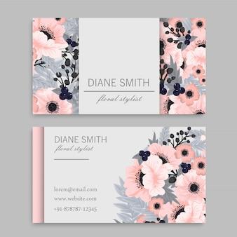 Visitekaartje met mooie roze bloemen