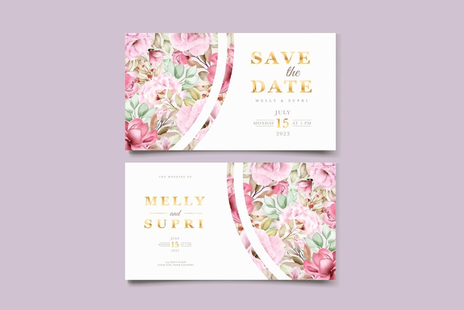 visitekaartje met prachtige aquarel bloemen