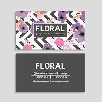Visitekaartje met prachtige bloemen sjabloon