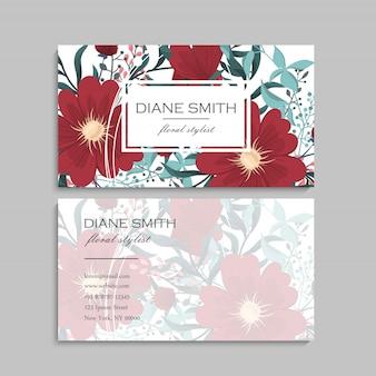 Visitekaartje met prachtige bloemen. sjabloon