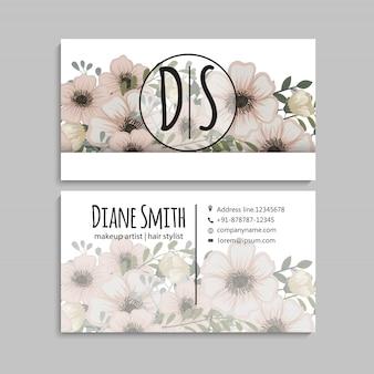 Visitekaartje met prachtige bloemen.