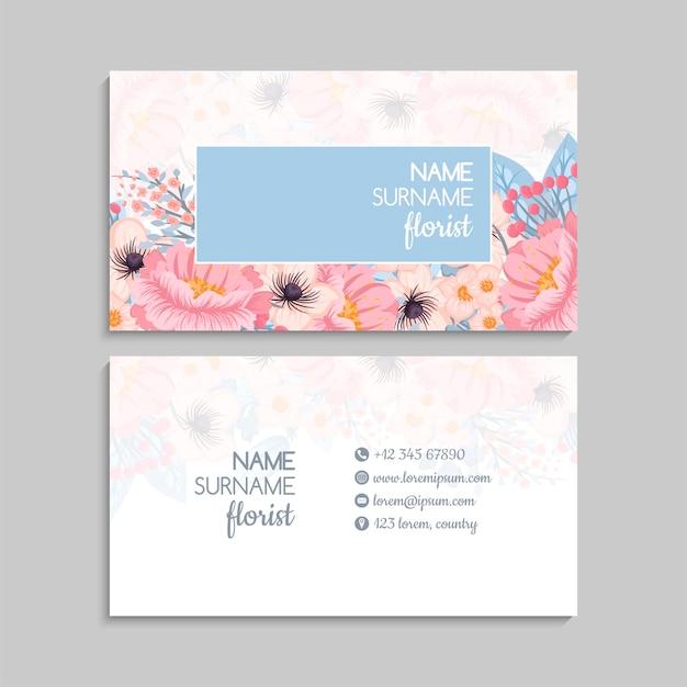 Visitekaartje met roze bloemen