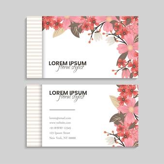 Visitekaartje met roze bloemenframe
