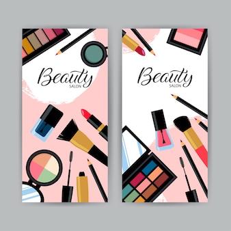 Visitekaartje met verschillende cosmetische producten.
